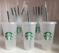 Starbucks 24 oz / 710 ml Plastik Kupa Tumbler Kapak Kullanımlık Temizle İçme Düz Alt Ayağı Şekli Saman Baldian Renk Değiştirme Flaş Siyah Kupası 50 adet DHL Taşıma