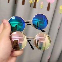 أطفال نظارات مصمم في الهواء الطلق نظارات الشمس النظارات نظارات عاكسة مرآة الكلاسيكية للجنسين الرجعية الإطار جولة مكبرة YL479