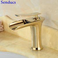 Senducs Ouro Casa de Banho Cachoeira Mixer Torneira Single Hand Single Buraco Banheiro Bacia Faucet Qualidade Banheira Banheira Torneira De Cachoeira