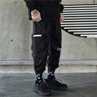 Tactics noirs Cargo Pantalons Hommes Fashion Streetwear Joggers Big Poche Design Pantalons Elastic Taille HG092 Hommes