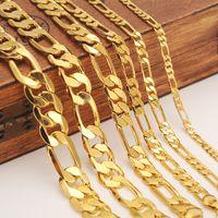 Mens women's Solid Gold GF 3 4 5 6 7 9 10 12mm Width Select Italian Figaro Link Chain Necklace bracelet Fashion Jewelry wholesale