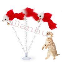 Souris drôle Swing Spring souris avec ventouse Coupe Furry Cat Coloré plume Tails Mouse Jouet pour chats petits Jouets d'animaux mignons