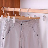 الشماعات السراويل الخشبية مع مقاطع معدنية الخشب تنورة شماعات السراويل رف كليب ملابس الأوتاد CCF6837