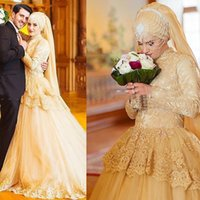 2015 Latest Muslim Wedding Dresses A Line Lace High Collar Long Sleeves with Peplum Court Train Mideast Bridal Gown