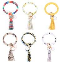 Kimter O Key Ring Bangle Portable Leather Tassel Keychain Bracelets Flower Wristlet Bracelet Keychains Holder Christmas Gift Free DHL X915FZ
