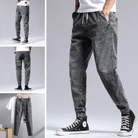 Men's Jeans Straight Korean Style Trendy Pants Stretch Slim-fit Spring Summer 2021