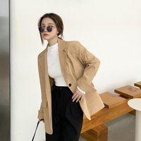 Women's Suits & Blazers 2021 Clothing Autumn Casual Striped Blazer Korean Style Straight Single Breasted Solid Color Loose Women