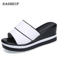 Slippers RASMEUP Genuine Leather Women's Platform Slides 2021 Fashion Summer Peep Toe Women Wedges Woman White Sandals Shoes
