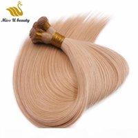 二重描画手ネクタイ髪の緯度厚いエンドブロンドグレーシルバーホワイトレッドピンク色最高の品質レミーバージンヘアエクステンション