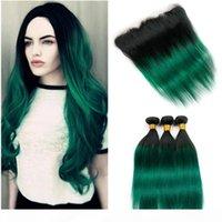 Dark Green ombre Malaisie cheveux vierges 3bundles avec frontal # 1B ombre vert cheveux humains lacetage frontal fermeture 13x4 oreille à l'oreille avec tisseries