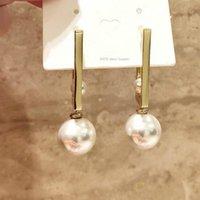 Trend простые и изысканные S925 серебряный игл женской геометрии металлические жемчужные серьги