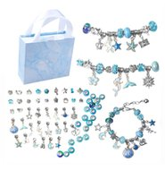 Kid DIY Jewelry European Beads Crystal Charm Bracelets strands For Children Girl Cartoon hand made Royal Crown pendants Sea blue pink red green purple with Gift Box