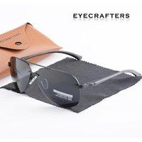 EyeCrafters Marca Gafas de sol Piloto Hombre Polarizado Driver Mirror Moda Polaroid Lens Spring Hinge Metal