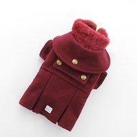 Warm Winter Dog Jacket Puppy Woolen Coat Cat Clothes Bichon Detachable Neck Faux Fur XS S M L XL Apparel