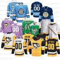 Personalizado Pittsburgh Penguins Hóquei Jerseys 87 Crosby 71 Malkin 62 Hagelin 30 Murray 58 Letang 59 Guentzel 81 Kessel