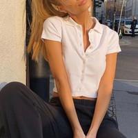 Women's T-Shirt Y2k Aesthetic Crop Tops T Shirts Women Short Sleeve Ribbed Button Cardigan Shirt Casual Summer Tshirt E Girl Streetwear