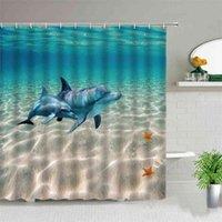 Смешные занавески для душа дельфинов милый океан животное голубое море морской волна пейзаж ванной декор ткань висит занавес с крючками 210830