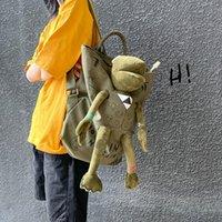 Рюкзак женская высокая емкости лягушка стерео кукла холст дамы студент мода подросток школьные сумки люди путешествуют