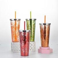 جديد طبقة مزدوجة بهلوان تلمع مسحوق البلاستيك المحمولة البلاستيك مع سترو زجاجة مياه قابلة لإعادة الاستخدام أكواب الثلج الصيف غطاء 24 أوقية البحر shipewe