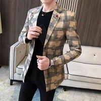 Korean Plaid Suit Blazer Jacket Men Stylish Dress Prom Blazers For Casual Slim Club Stage Singer Blusa Masculina 210915