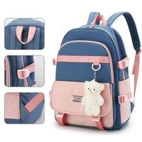 School Bags Kawaii Women's Backpack Nylon Waterproof For Girls Contrast Color Children's Korean Shoulder Bag