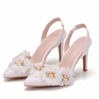 Dress Shoes Crystal Queen wedding shoes, white lace high heels, two types, women's sandals. ILM3