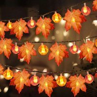 Fall Garland Decoration LED Maple Leaf Pumpkin String Light Autumn Decor Thanksgiving Indoor Outdoor Halloween Holiday Party Hang Glowing Supplies Sunset Color
