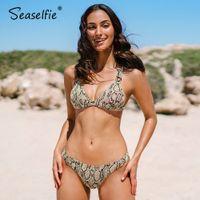 SEASELLIE TRIANGLE LOW Taille Bikini Sets Frauen Sexy Snakeskin Print Zwei Stücke Badeanzüge Beachwear 2021 Schwimmenanzug Bademode 210318