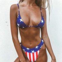 Bikinis 2021 Women Swimming Suit American Flag The Fourth Of July Two Pieces Bikini Swimwear Beach Maillot De Bain Biquini F78 Women's