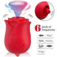 Silicona recargable Rose Clitoral Vibrador Vibrador Juguetes sexuales para mujer Sucking Bomba Mujeres Lengua Lick Clic Estimulador Q0320