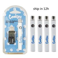 510 Thread Cookies Preheating Vape Cartridge Battery 350mAh Vapes Pens Battery Adjustable Voltage 3.4-4.0V with USB Charger Carts Battries OEM Logo