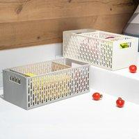 Caixa de armazenamento de plástico cutlery cutlery storages caixas desktop sundries organizador cesta sólida cor multifuncionais OWE10442