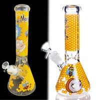 Acqua di vetro giallo Bongs Bongs narghilè luminoso Bong Bong fumo di vetro acqua tubo becher DAB Rigs Downstem Perc Tuabacco con ciotola da 14 mm