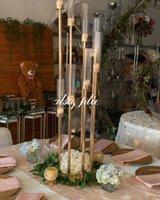 Son Düğün Dekorasyon Metal Altın Gümüş Şamdan 8 Kafa Mum Tutucular Masa Centerpieces Vazo 3 4 5 8 Kafaları Mum Tutucular Şamdan