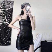 Casual Dresses Ucuhulnl Harajuku Sleeveless Slip Dress Women Letters Printing Pu Leather 2021 Summer