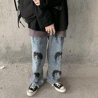 Women's Jeans Pants Baggy Streetwear South Korea Y2K Men's High Street Hip Hop Head Nude Thigh Trousers Trend