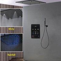 """Smart Rain Душевая система Черная Ванная комната Смеситель для ванной комнаты с термостатическим смесителем Цифровой сенсорный Diverter 20 """"Светодиодный набор набор осадков"""