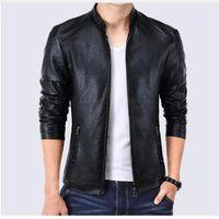 Men's Fur & Faux Spring Men Bomber Jacket Leather Jackets Fashion Coats Homme Jaqueta Masculina Brand Clothing M-5XL