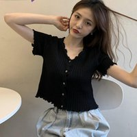 Women's T-Shirt Fashion T-shirts V-neck Button Short Section Knitted T Shirt Tops Solid Tees