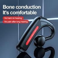 True Bone Conduction Earphones Bluetooth 5.1 Earhook Single-Ear Wireless Business Headset Sports Headphone With Mic Long Battery Life Protect Hearing