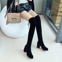 Bootsover Diz ince elastik kumaş yüksek kalın topuk uzun tüp 5050 kadın çizmeler ilkbahar ve sonbahar