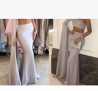 Sexy Two Pieces One Shoulder Mermaid Long Evening Dresses Satin Zipper Back Formal Evening Gowns Prom Dress Robe De Soiree