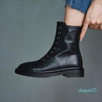 Boots British Design Women Short Winter Side Zip Bottes Femmes Black Real Leather Knight Botas De Mujer Med Heels Botines1
