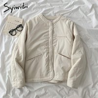Women's Jackets Syiwidii Woman Parkas Jacket Fall Winter 2021 Fleece Thick Long Sleeve Outwear Casual Single Breasted Loose Coats Ladies Top