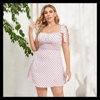 Casual Dresses Summer Polka Dot Pure Color Temperament Commuter Sexy Camisole Low-Cut Dress Large Size Women -40