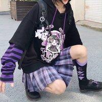 Girl Kawaii Hoodies Women Tracksuit Black Hoodie with Anime Long Sleeve Korean Style Sweatshirt Oversized Gothic Kpop