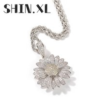 Can Rotate Zircon Sunflower Diamond Necklace Whit Gold Plated Hip Hop with Tennis Chain Mens Bling Jewelry Gift