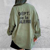 USA Army Green Skateboard High Street T-shirt Hommes Femmes Coton à manches longues Mode Streetwear Tshirt T-shirt