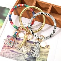 PU Leather Tassels Bracelet Keychain PU Wrist Key Ring Sunflower Leopard Patterns Bangle Key Holder Dia 8.5cm T500702