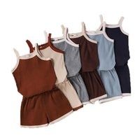 Clothing Sets 1-6 Years Toddler Kids Boy Girl Ribbed Summer Clothes Born Infant Boys Girls Sleeveless Vest Tops+Elastic Shorts Outfits